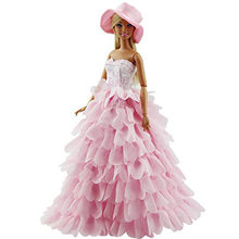 Pink Evening Dress For Barbie Doll 8 Layers Wedding Dress Furniture For Doll Clothes For Barbie Doll Accessories With Hat(China)
