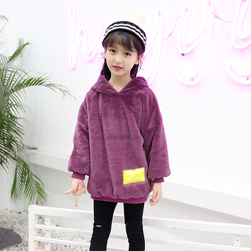 Girls Autumn Winter Warm Sweatshirt Thickening Korean Kids Tops Children's Clothing Hooded Teenagers Baby Girls T-shirt 3-11t