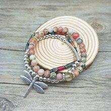 цена на Youga 2018 New Trendy Multi Layers Cute Dragonfly Charms Bracelets for Women Pearls & Original Stone Bracelet Fashion Jewelry