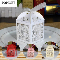 150 Pcs Lot Ribbons Included Carton Wedding Candy Box Love Bird Laser Cute Gift Boxes Party