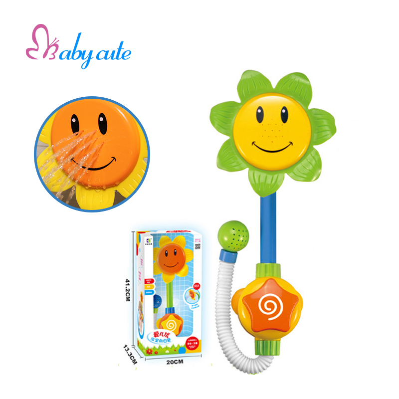 Funny Baby Bath Toys Sunflower Shower Faucet Bath Learning ...