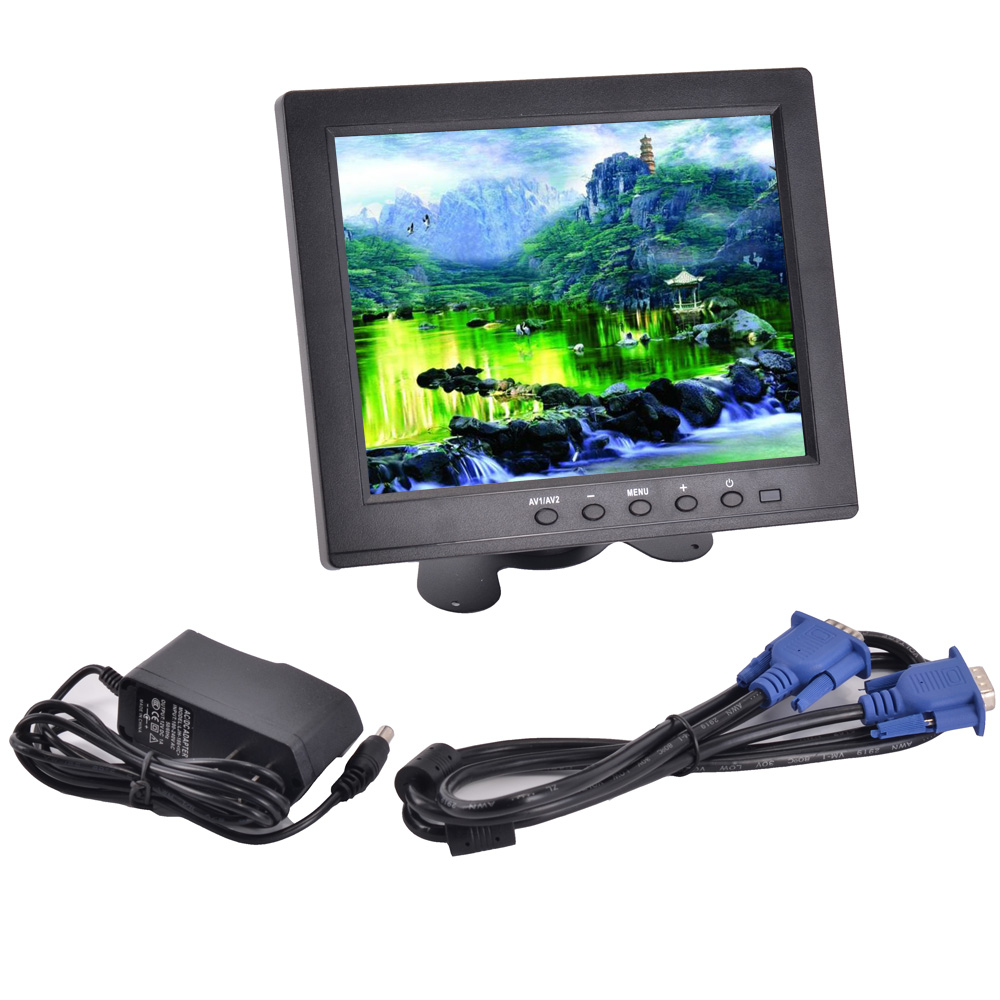 HD 8'' inch LCD 800*600 Resolution Screen Car Monitor VGA AV Digital Display For Camera + Remote Control 12 inch 12 1 inch vga connector monitor 800 600 song machine cash register square screen lcd industrial monitor display