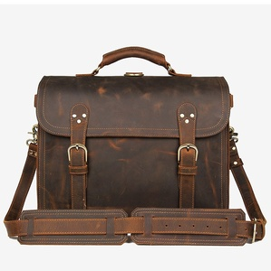 "Image 4 - Genuine Leather Men Handbag Vintage Crazy Horse Leather Messenger Bag 15.6"" Laptop Briefcase Multi Function Shoulder Bags Travel"