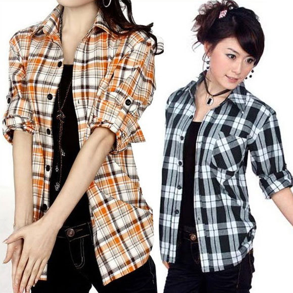 Free shipping 2016 New fashion Blouses for women plaid shirts ladies 100% Cotton checked shirt long sleeve shirts SWS077