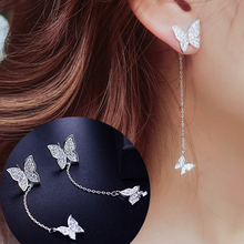 Korean 925 Sterling Silver Insect Earrings For Women Shiny Micro Pave CZ Zircon Butterfly Tassel Earrings 2019 fabulous short tassel drops double yellow bird brooches silver tone micro pave cz green eyes two love birds pins for girlfriend