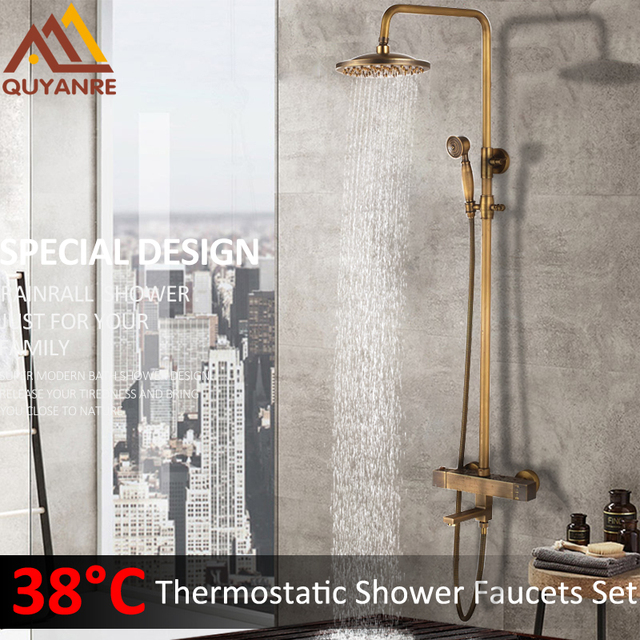 US $89 0 45% OFF|Quyanre Antique Brass Thermostatic Shower Faucets Set  Brass Rainfall Shower Mixer Tap Swivel Tub Spout Bathroom Shower Faucet-in