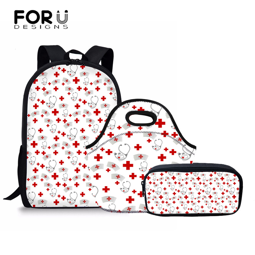 FORUDESIGNS Cute Nurse Pattern Women School Backpack 3 Pcs/set Schoolbag For Teenager Girls Primary and Senior Student Book Bag cute stand collar see through parrots pattern tankini set for women
