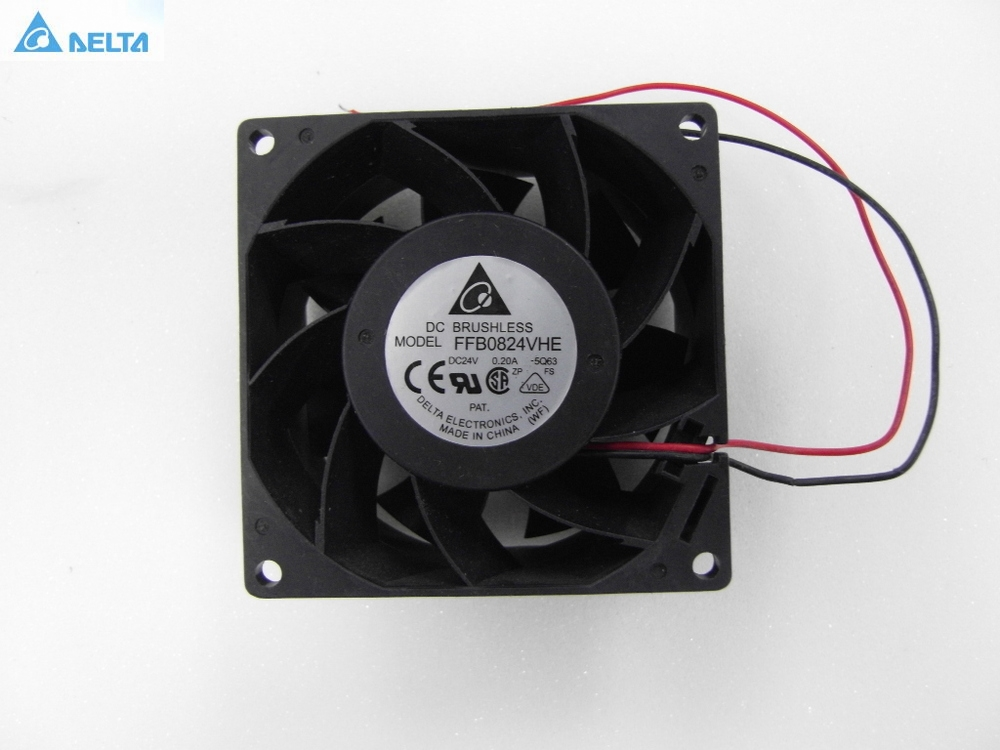Delta FFB0824VHE 8038 DC 80*80*38mm DC 24V 0.25A 4200RPM 57.21CFM cooling fan delta ffb0824vhe 8038 dc 80 80 38mm dc 24v 0 25a 4200rpm 57 21cfm cooling fan
