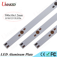 590mm lamp plate 8/10/12/15 leds LED aluminum plate For 1W 3W 5W high Power leds install LED PCB Board Aquarium tube Grow light