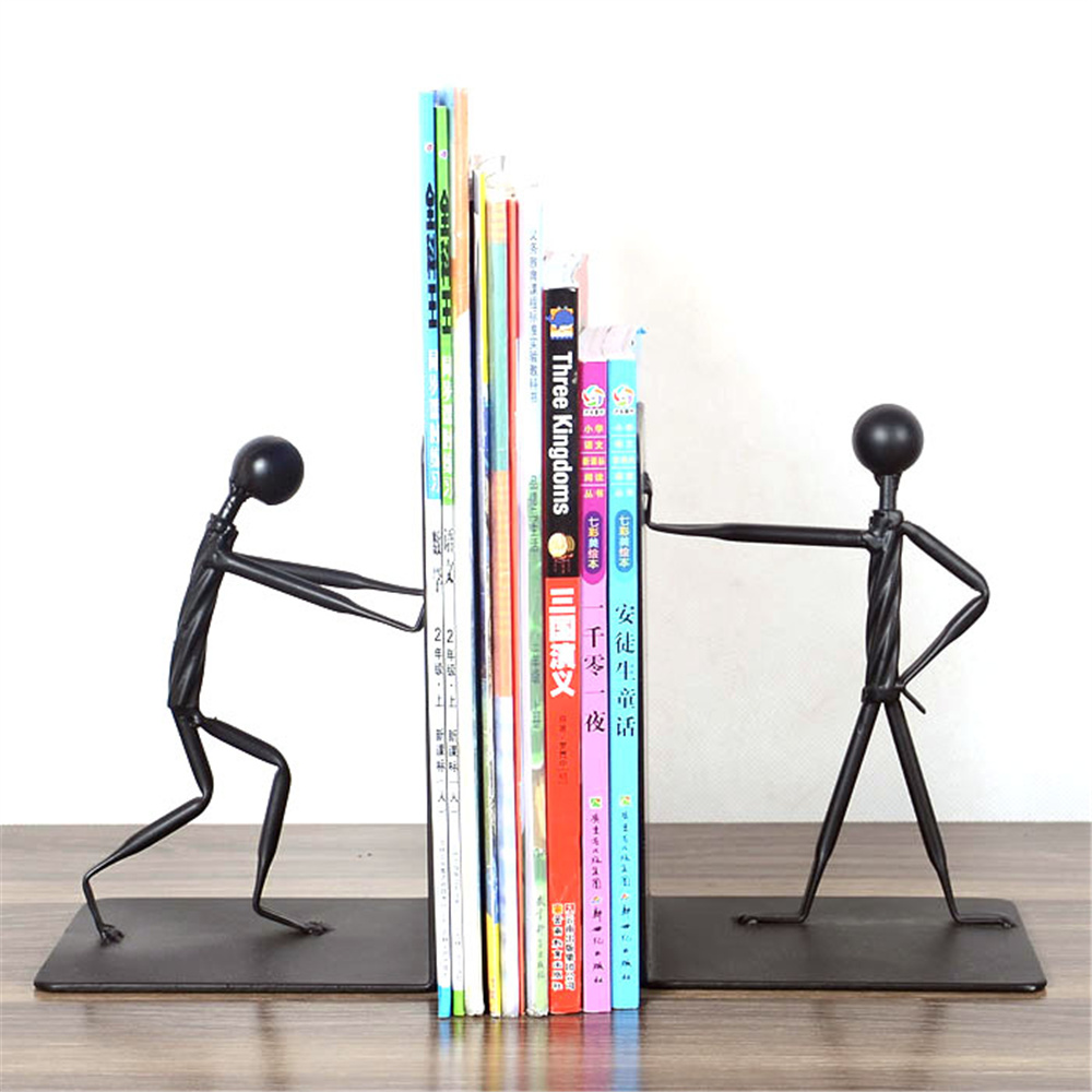 a pair Fashion Human Shape bicycle S Bookshelf Bookends School Office Stationery