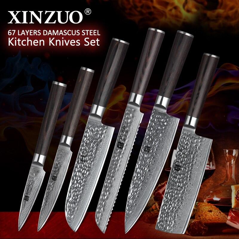 Ev ve Bahçe'ten Bıçak Setleri'de XINZUO Japon Şam Çelik 6 ADET Mutfak Bıçakları Seti Ultra Keskin Bıçak şef bıçağı 62 HRC mutfak bıçağı Araçları Pakkawood Kolu'da  Grup 1