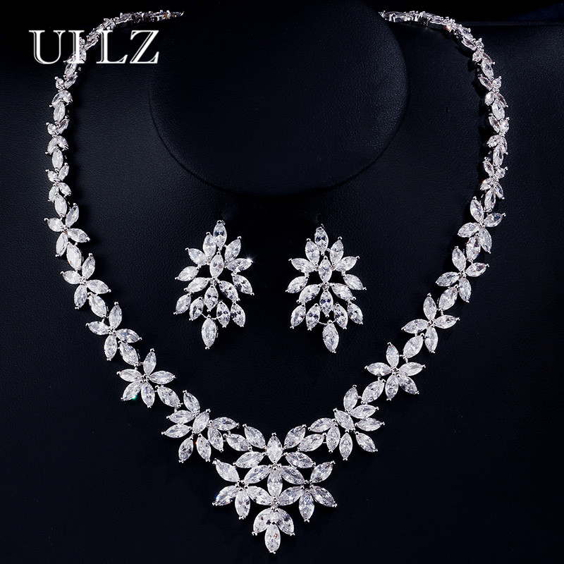 UILZ Exquisite Cubic Zirconia Bridal Jewelry Sets Crystal Flower Shape Earrings And Necklace Jewelry Sets For Brides US166 ключ licensed authentic genuine original accessories 307 308 408 c5