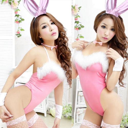 Free Shipping Pink Sexy Bunny Suit Lingerie Role Play Boy