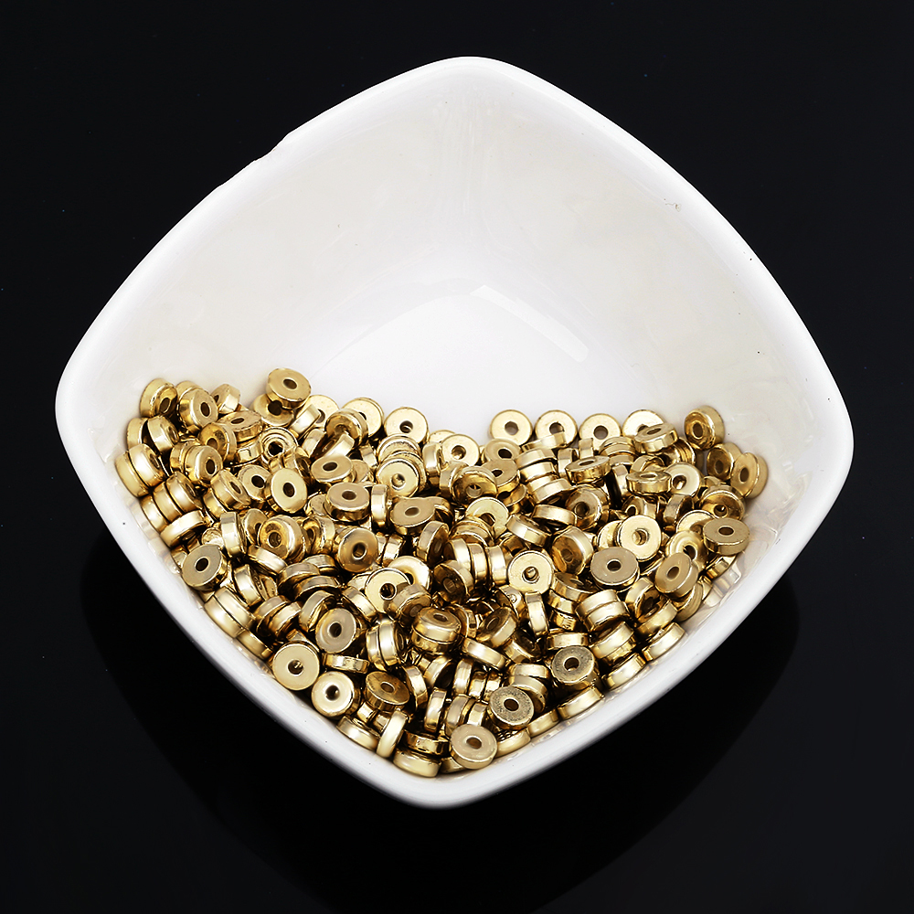 350pcs/lots Plastic Plating Gold Flat Round Plastic Hole Beads Jewelry Accessories Small Gold Beads Isolated Beads
