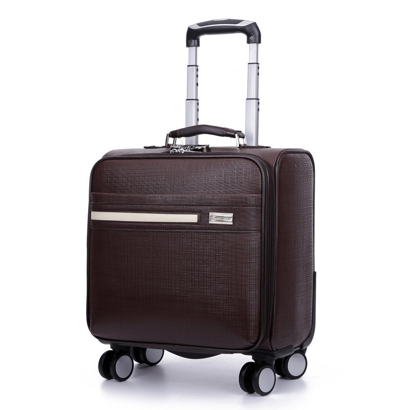 16-inch New PU leather trolley suitcase Spinner wheels boarding box men women Business travel case rolling luggage mala valiz 20 24 inch abs girl students fashion spinner trolley case child travel luggage men rolling suitcase women business boarding box