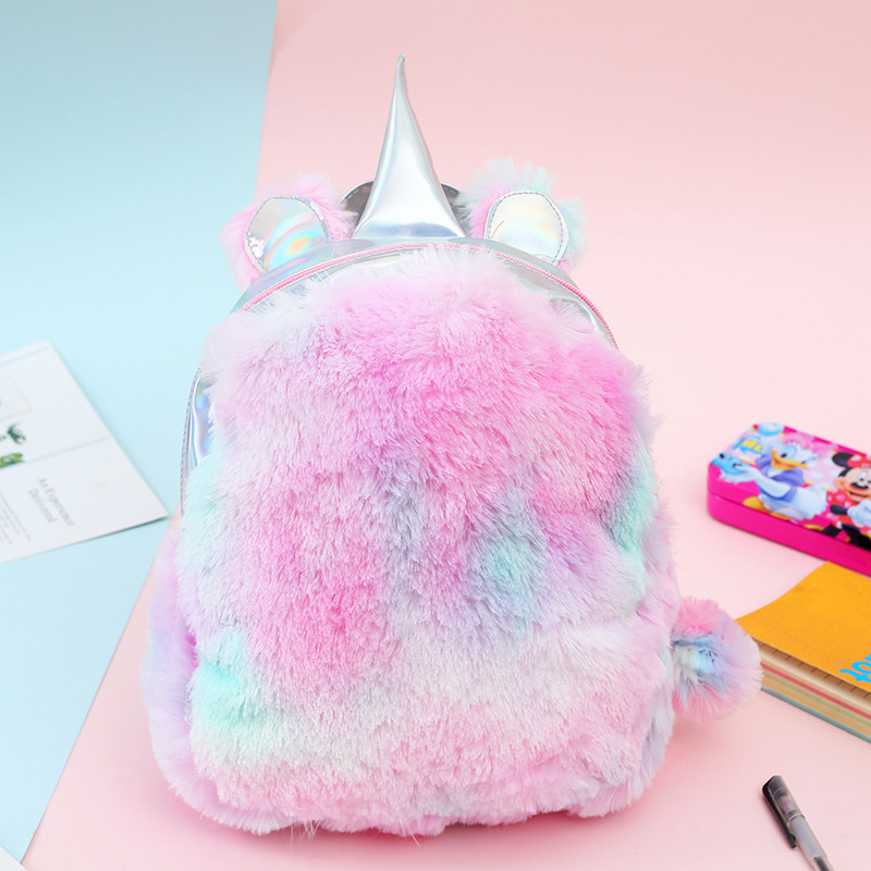 2019 Plush Backpack With Girl Unicorn Backpack Youth Bag Student Bag Brigade Artificial Fur Small Backpack School Backpack Bag