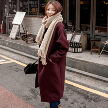 Autumn Winter Womens Wool Blend Coat Long Woolen Slim Type Female Coats