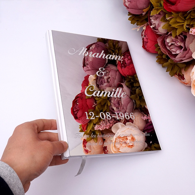 Custom Wedding Signature Guest Book Personalized Mirror Cover Empty White Blank Pages Book Bridal Favor Gift Party Decor