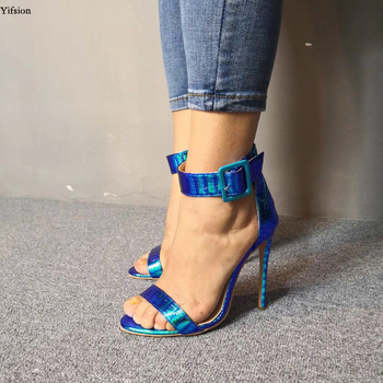 Olomm New Women Shiny Sandals Sexy Thin High Heels Sandals Open Toe Gorgeous Silver Blue Party Shoes Women US Plus Size 5-15