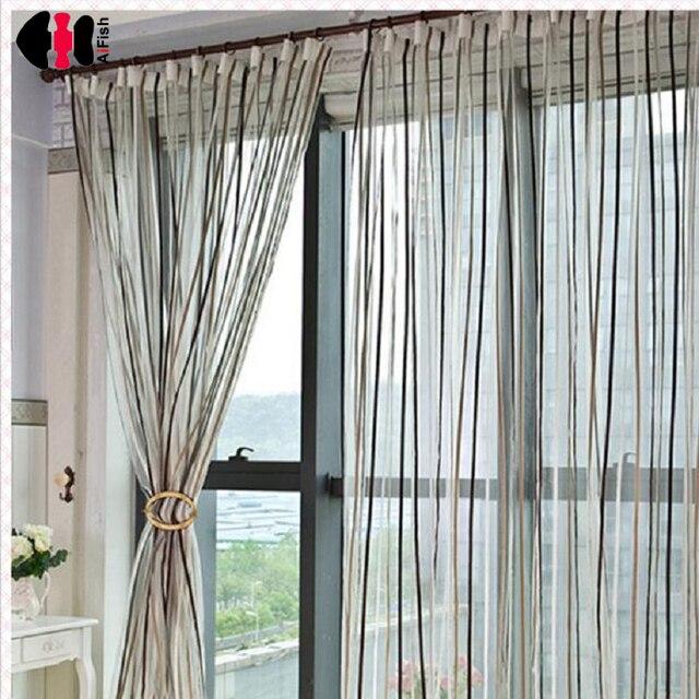 Gestreiften vorhänge tüll wohnzimmer modernen Dünnen fringe vorhang ...