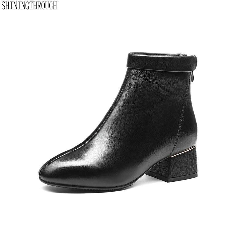 2019 femmes bottines en cuir de vache talons hauts dames chaussures femme bout rond court moto bottes grande taille 41 42 43