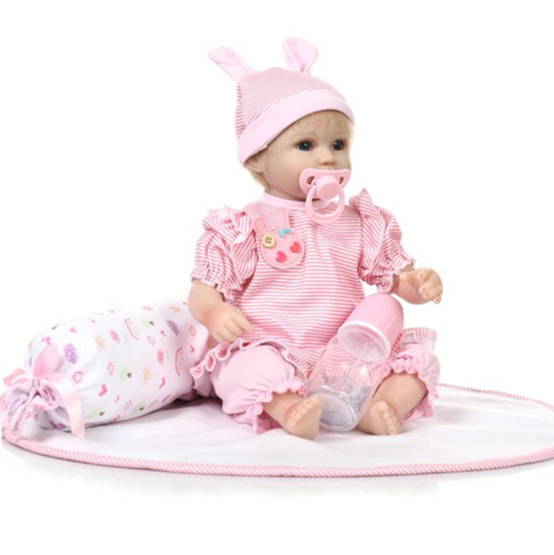 ФОТО 18 Inch Pink Clothes Lifelike Doll With Magnetic Pacifier Cute Babies Toys Reborn Baby Dolls
