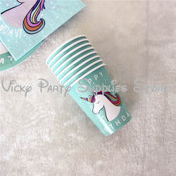 8 шт./лот Единорог тема одноразовые чашки Дети День рождения Baby Shower бумажный стаканчик столовые приборы для вечеринки