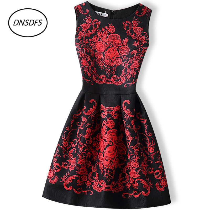 2018 new youngsters printing high grade elegant and elegant dress A word 13~20 year old girl printing and old dress
