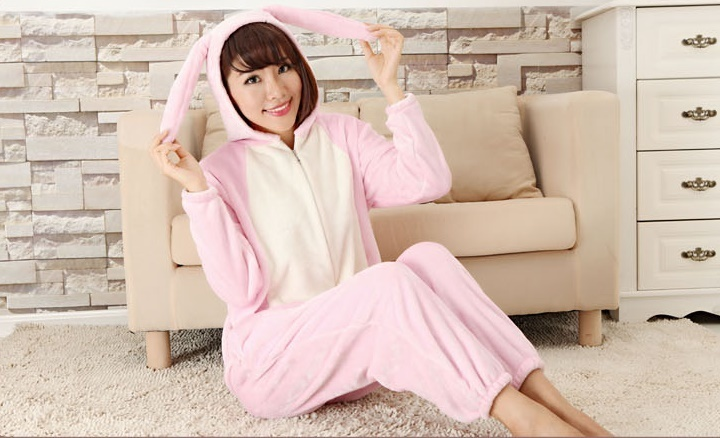 Flannel rabbit Animal Adulto Onesie Sleepsuit Pijama Cosplay Coelho Com Orelha Longa Pijamas Jumpsuits Rompers