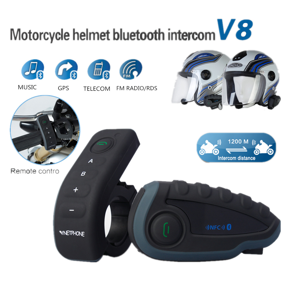 Capacete da motocicleta Do Bluetooth Interfone Headset 5 Pilotos 1200 Meters Multi-funcional Orador Moto Intercomunicador Do Bluetooth
