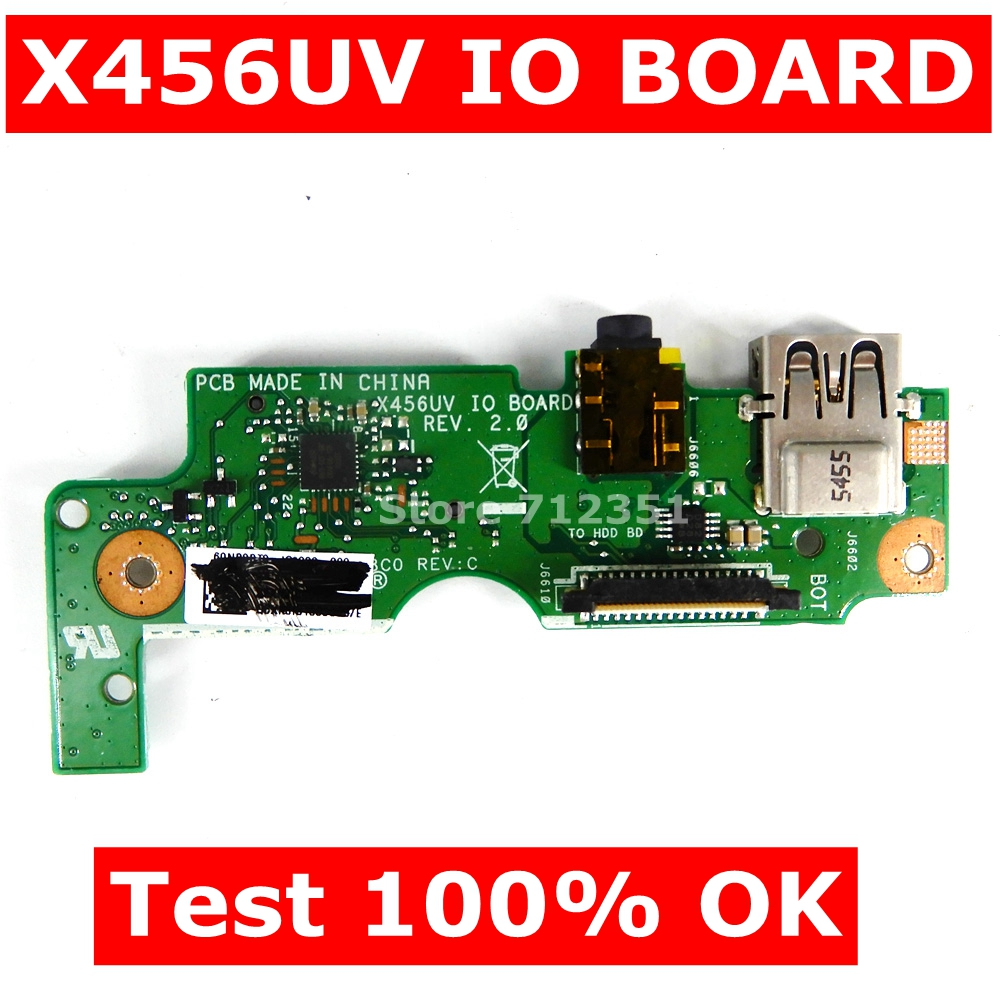 X456UV IO Board REV 2.0 For ASUS X456U X456UV K456U A456UV F456UV R456U Laptop Motherboard USB AUDIO SD CARD BOARD Test 100% OK