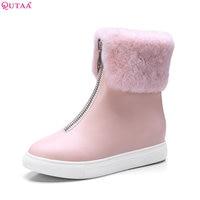 QUTAA 2018 Women New Fashion Keep Warm Ankle Boots Zipper Round Toe Wedges Heel Short Plush
