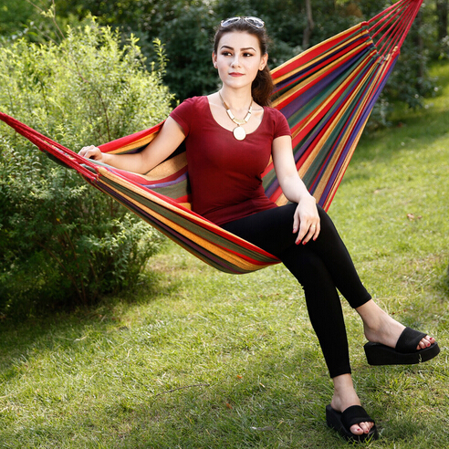 Cheap Price Portable Outdoor Garden Hammock Hang BED Travel Camping Swing Canvas Stripe Free Shipping single person hammock canvas thicken camping indoor and outdoor travel furniture swing go to bed colorful easy to fold carry
