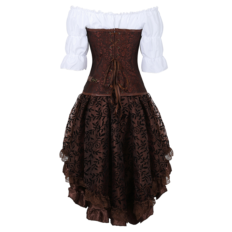 Image 3 - Steampunk Bustier Corset Plus Size 6XL PU Leather Corset Skirt Tops 3 Piece Set Gothic Burlesque Pirate 2019 New Arrival 8105 3-in Bustiers & Corsets from Underwear & Sleepwears