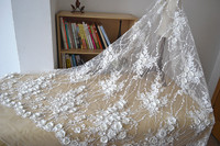 3D satin flower pearls sequins lace fabric DIY nail bead heavy materials lace wedding fabric
