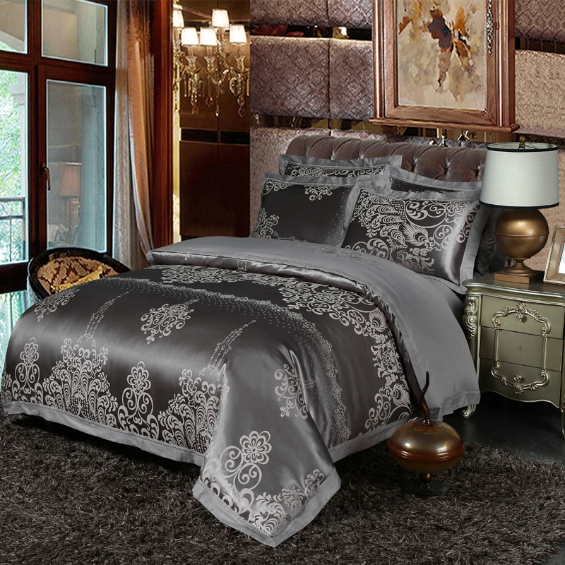 New queen king size bedding sets Luxury silk satin bed set bed sheet set,Silver golden jacquard bed set bed linen pillowcases