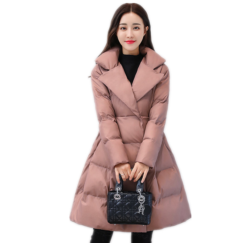 Winter Women Sweet Jackets 2019 A-Line Down Cotton Jacket With Big Bow Female Cotton-Padded Slim Winter Coats Lady   Parkas   CQ2609