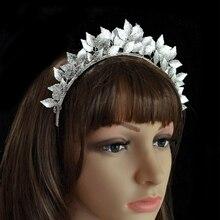 Fashion Gold Silver Leaf Hairbands Handmade Hair Jewelry For Wedding Bridal Tiara Headdress Accessories Women Forehead Jewelry