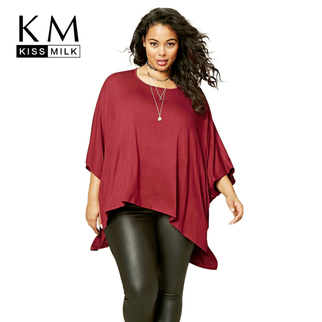 d21493c8a8b Kissmilk Plus Size New Fashion Women Clothing Casual Solid Cape Tops O-Neck  Loose Streetwear