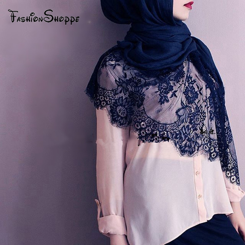 Cotton Viscose Maxi Scarf Lace Hijab Floral Lace Stole Foulard Women Shawl Wrap Muslim Head Scarves Hijabs Islam islam between jihad and terrorism