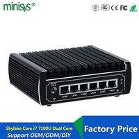 6 Ethernet LAN Fanless Pfsense Mini PC Intel Skylake I3 7100u Dual Core DDR4 Ram Linux