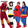 Pseewe 2016 novos adultos flanela pijamas all in one pijama inverno ferro superman spiderman batman super hero adulto onesies pijama