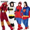 Pseewe 2016 nuevos adultos pijamas todo en uno pijama de franela super hero adulto invierno hierro superman spiderman batman onesies pijamas