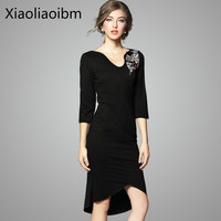 Spring Clothes V Neck Products Heat Lady Of Quality Full Dress Heavy Shoulder Book Pearl Irregular