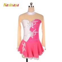 customized clothes figure skating dress rhythmic gymnastics long sleeve black adult child girl show skirt performance rhinestone