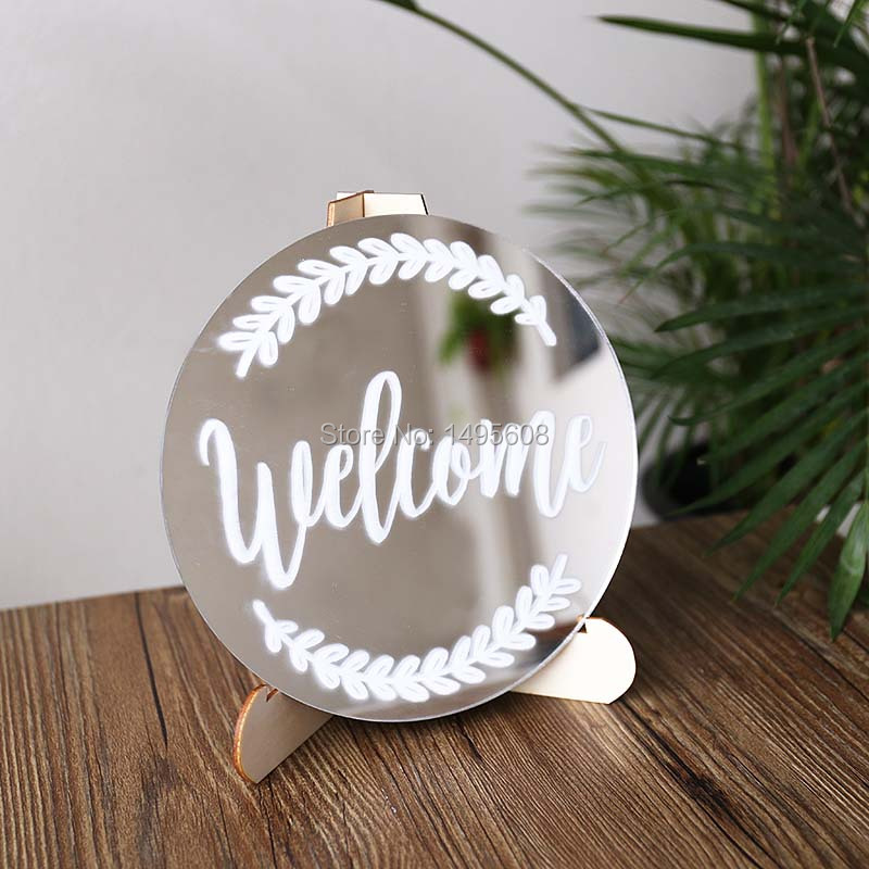 Us 11 83 26 Off Wedding Sign Calligraphy Glass Mirror Sign Rustic Vintage Glam Wedding Small Medium In Party Direction Signs From Home Garden