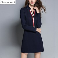Autumn Winter Dress Navy BlueTurn Down Collar Rib Metal Ring Pearl Ornament Women Clothes Spring Office