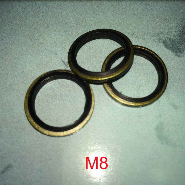 100 PCS Metal & Rubber Bonded Oil Drain Washer O Ring Seal Gasket ...