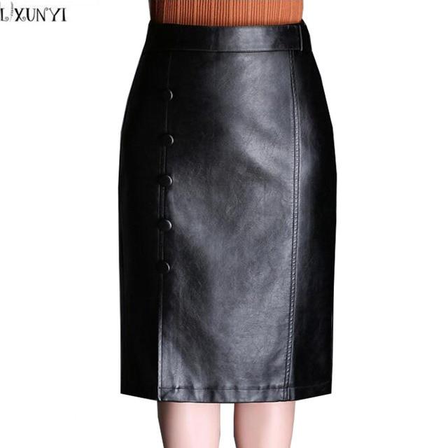 ede2bda4493 LXUNYI Autumn Winter Skirts Womens Buttons Black High Waist Leather Skirts  Sexy Elegant Slim Midi Leather Skirt Women Plus Size