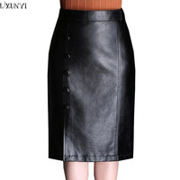 LXUNYI Autumn Winter Skirts Womens Buttons Black High Waist Leather Skirts Sexy Elegant Slim Midi Leather